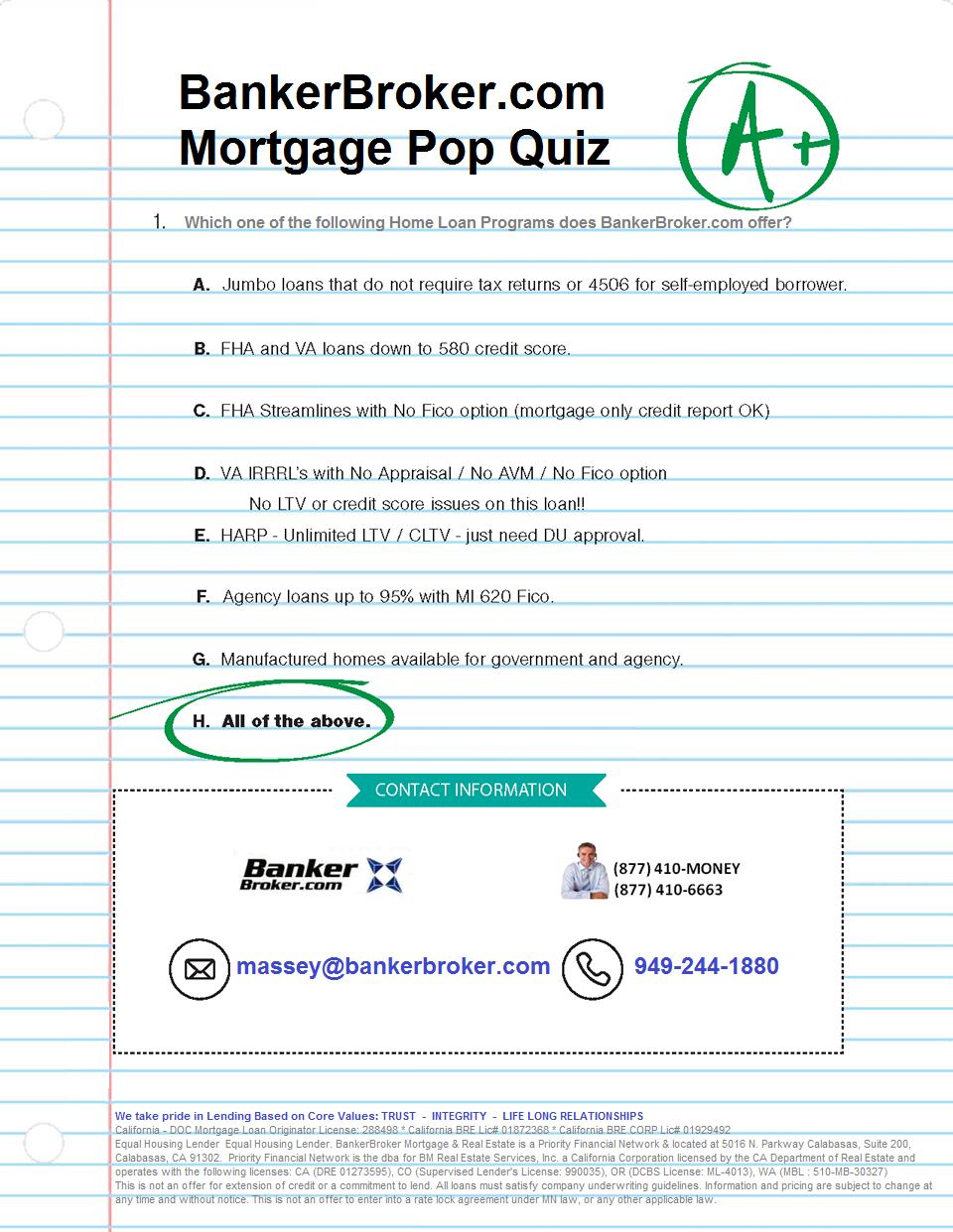 BankerBroker Mortgage Pop Quiz