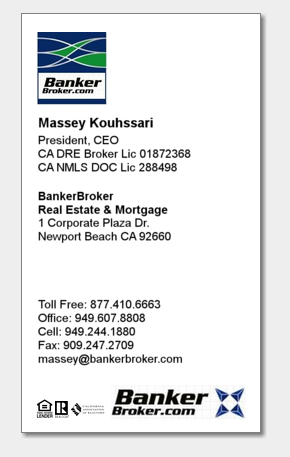Massey Kouhssari President CEO at BankerBroker.com Business card