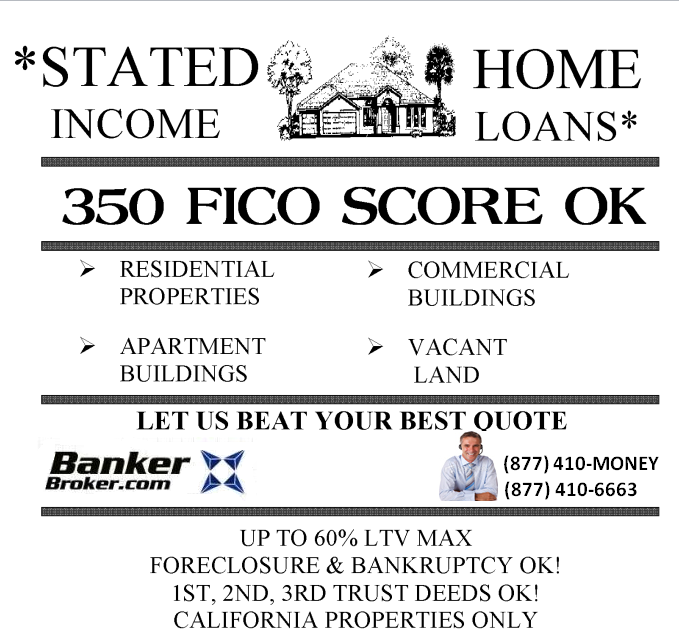 Stated income Home Loans - 350 Fico OK